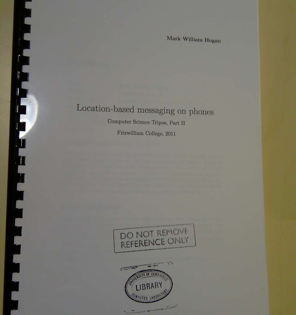 Dissertation Front Cover: Location-based messaging on phones by Mark