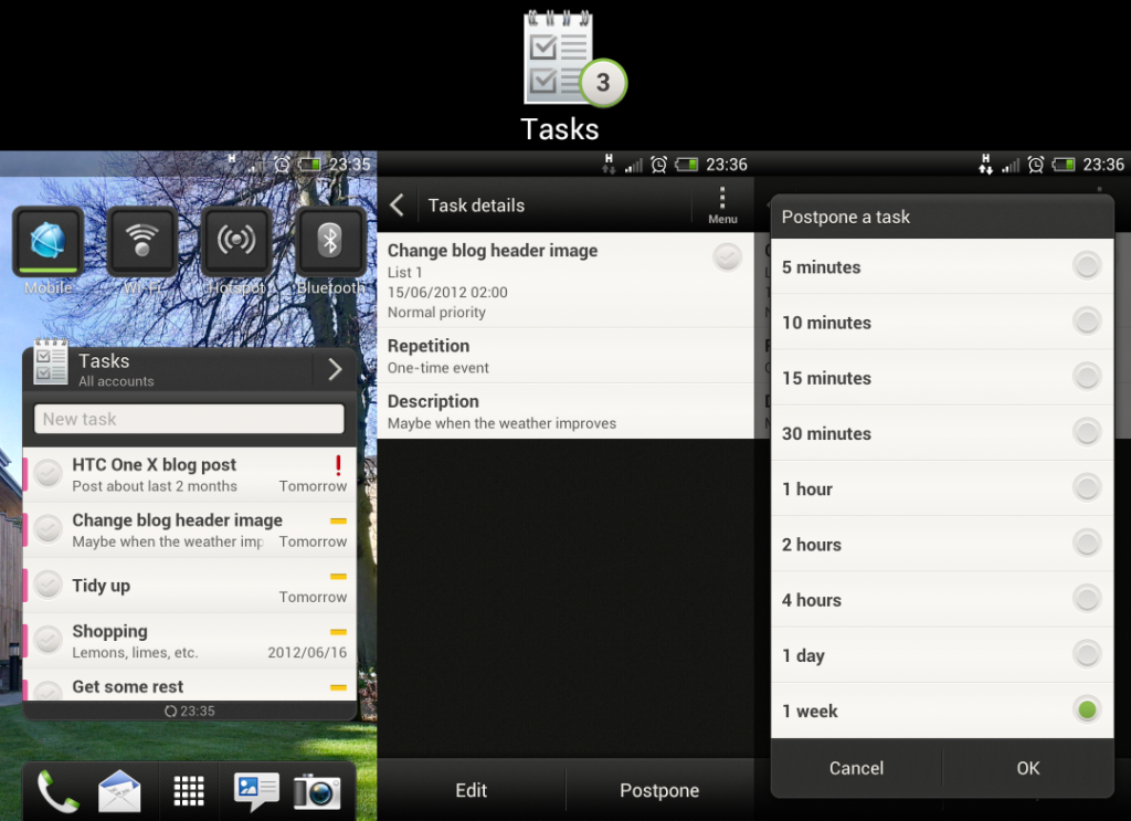 The HTC One X's tasks app and widget